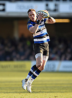 James Wilson of Bath Rugby receives the ball. Aviva Premiership match, between Bath Rugby and Sale Sharks on February 24, 2018 at the Recreation Ground in Bath, England. Photo by: Patrick Khachfe / Onside Images