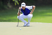 Tyrrell Hatton (ENG) lines up his putt on the 13th green during Thursday's Round 1 of the 2017 PGA Championship held at Quail Hollow Golf Club, Charlotte, North Carolina, USA. 10th August 2017.<br /> Picture: Eoin Clarke | Golffile<br /> <br /> <br /> All photos usage must carry mandatory copyright credit (&copy; Golffile | Eoin Clarke)