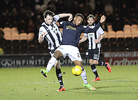 Myles Hippolyte blocks Calum Gallagher in the St Mirren v Falkirk Scottish Professional Football League Ladbrokes Championship match played at the Paisley 2021 Stadium, Paisley on 1.3.16.
