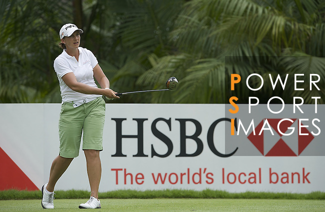 SINGAPORE - MARCH 06:  Angela Standford tees of on the par four 12th hole during the second round of HSBC Women's Champions at the Tanah Merah Country Club on March 6, 2009 in Singapore. Photo by Victor Fraile / The Power of Sport Images