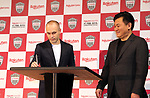 May 24, 2018, Tokyo, Japan - Spanish midfielder Andres Iniesta of former FC Barcelona signs for contract while Japan's online commerce giant Rakuten president Hiroshi Mikitani (R) looks on as he joins Vissel Kobe of Japan's professional football league J-League in Tokyo on Thursday, May 24, 2018. Vissel Kobe is owned by Mikitani's Rakuten and Rakuten is now uniform sponsor of FC Barcelona.   (Photo by Yoshio Tsunoda/AFLO) LWX -ytd-