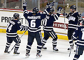 Mike Borisenok (UNH - 14), Trevor van Riemsdyk (UNH - 6), Scott Pavelski (UNH - 11), Brett Kostolansky (UNH - 15) - The Boston College Eagles defeated the visiting University of New Hampshire Wildcats 4-3 on Friday, January 27, 2012, in the first game of a back-to-back home and home at Kelley Rink/Conte Forum in Chestnut Hill, Massachusetts.