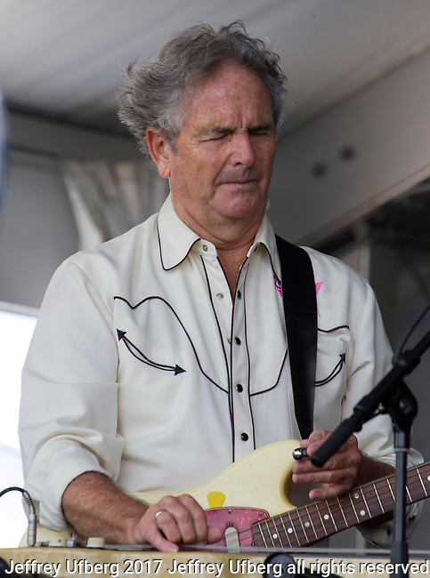 May 4, 2017 New Orleans, La: Spencer Bohren performs with George Porter, Jr. at the New Orleans Jazz & Heritage Festival on May 4, 2017 in New Orleans, La.