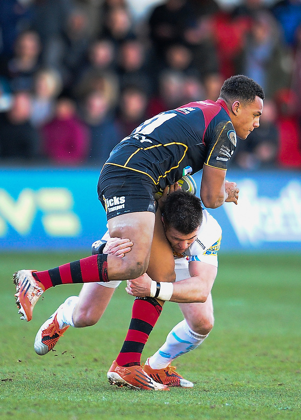 Newport Gwent Dragons' Ashton Hewitt is tackled by Exeter Chiefs' Ceri Sweeney<br /> <br /> Photographer Craig Thomas/CameraSport<br /> <br /> Rugby Union - European Rugby Challenge Cup Pool 3 - Newport Gwent Dragons v Exeter Chiefs - Sunday 1st February  2015 - Rodney Parade - Newport <br /> <br /> &copy; CameraSport - 43 Linden Ave. Countesthorpe. Leicester. England. LE8 5PG - Tel: +44 (0) 116 277 4147 - admin@camerasport.com - www.camerasport.com
