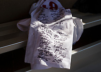 NWA Democrat-Gazette/CHARLIE KAIJO A jersey signed by the Razorbacks baseball team for Mika Mika is shown during the Tyson Chicken annual softball tournament, Friday, August 3, 2018 at the Rogers Regional Sports Park in Rogers. <br />