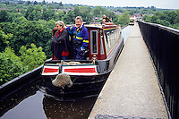 Wales, Offa's Dyke Footpath.  Pontcysyllte Aqueduct and Llangollen Canal, near Llangollen, Denbighshire.  The aqueduct, a World Heritage Site, is the longest and highest aqueduct in Britain, built 1795-1805.