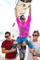 Saturday April 9 2011 (Margaret River/Western Australia): FLORIDIAN surfer and former world number 4, Damien Hobgood (Fl, USA) has claimed his fifth ASP World Tour event victory by taking out the Prime-rated Telstra Drug Aware Pro ahead of local, Yadin Nicol (WA, AUS), at Margaret River in West Australia today. Hobgood earned US$40,000 and 6,500 valuable ratings points for his win and moved him to 10th position on the ASP World Rankings..Following a hectic week that saw the swell size peak at five-metres, the greatest challenge for competitors on the final day was to find any rides at all. And in the 30-minute decider, Hobgood got the jump on the local crowd favourite by clinching two early scoring waves.. - Photo: joliphotos.com