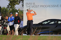 Joost Luiten (NED) tees off the par3 17th tee during Sunday's Final Round of the 2014 BMW Masters held at Lake Malaren, Shanghai, China. 2nd November 2014.<br /> Picture: Eoin Clarke www.golffile.ie