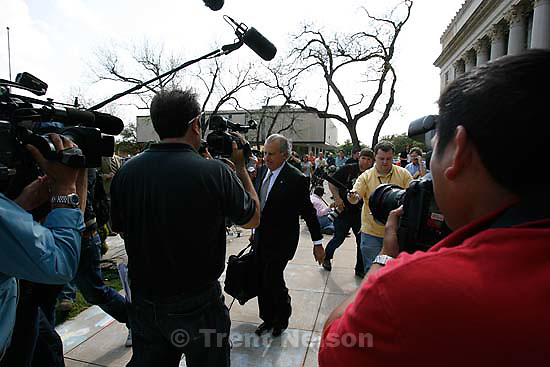 """San Angelo -  A hearing at the 51st District Court Wednesday, April 9, 2008, where a judge ruled three members of the FLDS polygamous sect have the legal right to challenge the massive search underway on their property near Eldorado, the YFZ """"Yearning for Zion"""" Ranch.; 04.09.2008 Attorney Gerald Goldstein"""