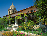 Monterey County, CA<br /> Tower of the Carmel Mission Basilica (1797) above the courtyard gardens