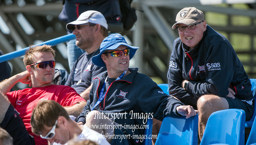 Brandenburg. GERMANY. A &quot;Collection&quot; of GBR Coaches watch the racing from the Granstand at the <br /> 2016 European Rowing Championships at the Regattastrecke Beetzsee<br /> <br /> Saturday  07/05/2016<br /> <br /> [Mandatory Credit; Peter SPURRIER/Intersport-images]