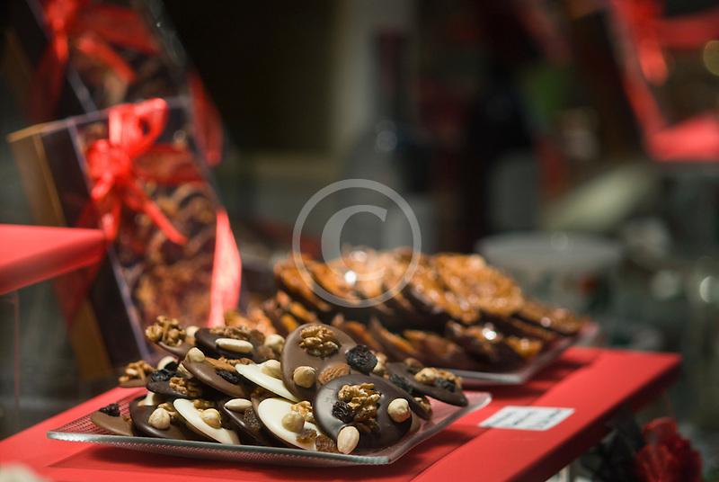 Belgium, Brussels, Chocolate candies in shop display