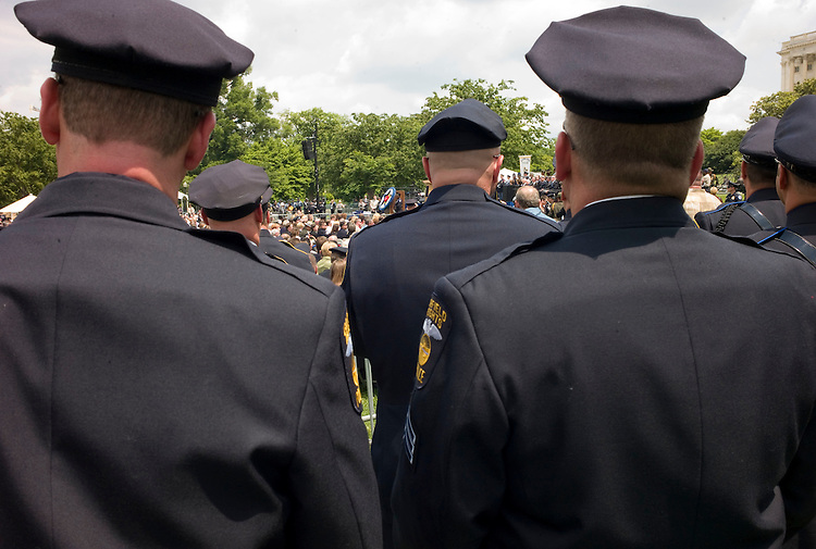 WASHINGTON, DC - May 15: Police officers during the Twenty-Seventh Annual National Peace Officers' Memorial Service at the U.S. Capitol. The Grand Lodge Auxiliary of the Fraternal Order of Police honors law enforcement officers from around the country who were killed in the line of duty. (photo by Scott J. Ferrell/Congressional Quarterly)