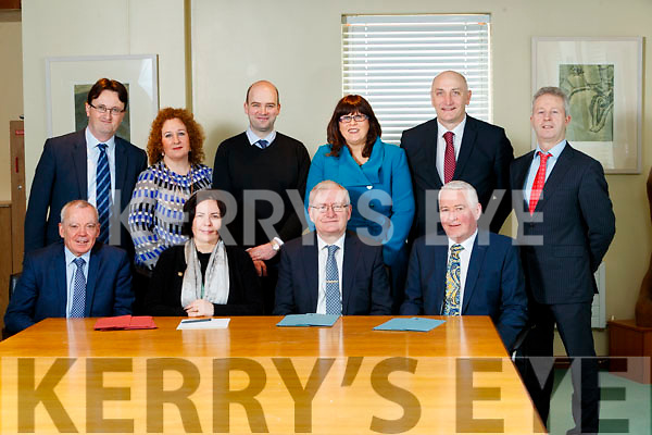 Front from left: Michael Scannell, Kerry County Council, Moira Murrell, CEO Kerry County Council, Oliver Murphy, IT Tralee,  and Jerry Maloney, Enterprise Ireland. Back from Left: , Noel Spillane, South Kerry Partnership, Brid McElligott, IT Tralee, Dónal Mac an tSíthigh (Údaras na Gaeltachta), Bridget Fitzgerald, Kerry County Council, Tomás Hayes, Kerry Enterprise Board, Eamon O'Reilly NEWKD