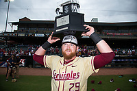 Quincy Nieporte (29) of the Florida State Seminoles holds the championship trophy over his head following the win over the North Carolina Tar Heels during the 2017 ACC Baseball Championship Game at Louisville Slugger Field on May 28, 2017 in Louisville, Kentucky.  The Seminoles defeated the Tar Heels 7-3.  (Brian Westerholt/Four Seam Images)