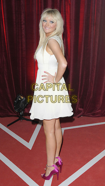 Katie McGlynn.attended the British Soap Awards 2013, Media City, Salford, Manchester, England, UK, 18th May 2013..arrivals full length white dress hand on hip clutch bag pink magenta open toe shoes sandals ankle strap v-neck cleavage sleeveless side .CAP/CAN.©Can Nguyen/Capital Pictures.