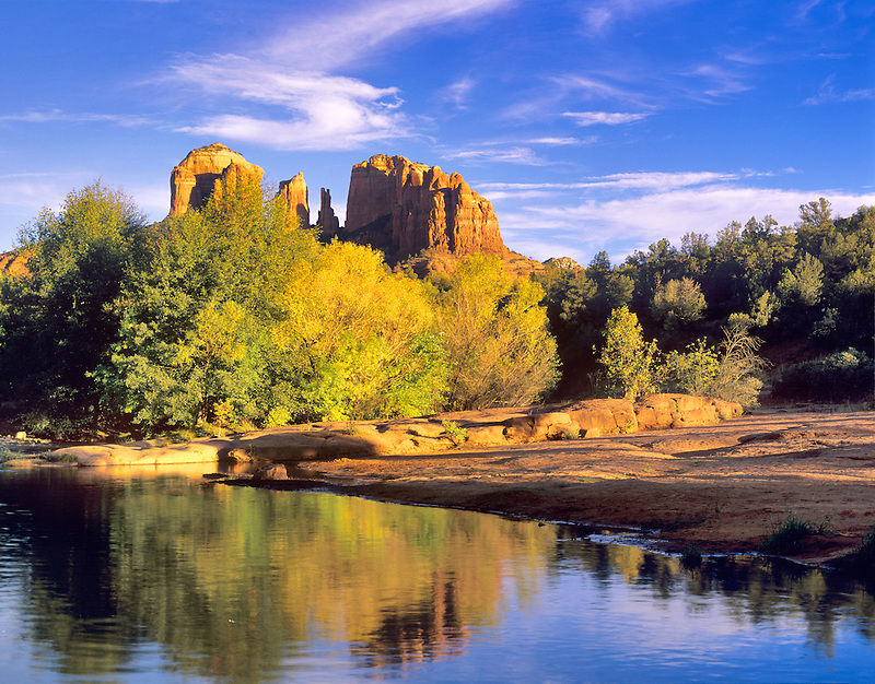 Cathedral Rock reflected in Oak Creek, Arizona