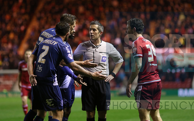 Neil Eardley, Michael Morrison and Jacques Maghoma of Birmingham City protesting the decision of referee Darren Bond to give a free kick outside there box - Sky Bet Championship - Middlesbrough vs Birmingham City - Riverside Stadium - Middlesbrough - England - 12th of December 2015 - Picture Jamie Tyerman/Sportimage
