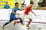 Ugra Yugorsk's Robinho (l) and SL Benfica's Changuinha during UEFA Futsal Cup 2015/2016 Semifinal match. April 22,2016. (ALTERPHOTOS/Acero)