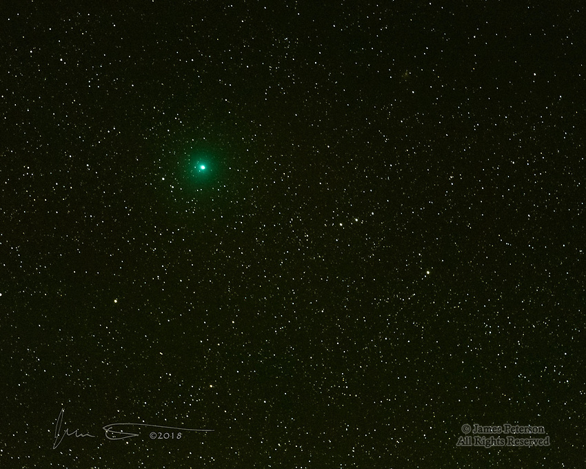 Comet 46P/Wirtanen &copy;2018 James D Peterson.  Various news articles mentioned that this comet would be visible this month (Dec., 2018), so of course I had to go out and capture it.  This image was made in my back yard (Sedona, Arizona) at 4:36 AM MST on Dec. 19.  I captured eight 2.5 second exposures with my Nikon D850 camera at f2.8, ISO 12800 using a Tamron 70-200mm lens at 200mm.  To minimize the background noise that's inevitable at such high sensitivities, I manually aligned the images (because the stars moved a bit between farmes)  and averaged them together.  In this process, the light from the stars and the comet in the 8 images adds together while the background noise pixels, being random, tend to get averaged out.<br /> <br /> It's not the most spectacular comet I've ever captured (no tail), but it's still an interesting green celestial fuzzball.  Enjoy!