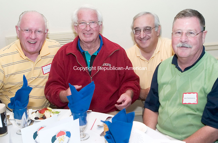 GOSHEN, CT- 11 SEPT 06- 0911006JT10-<br /> Father Joe Looney of Waterbury with Don Martin and Paul Ramunni of Canaan, and John Charbonneau of Watertown at the 6th annual Golf for Good Causes at the Torrington Country Club in Goshen on Monday, Sept. 11. The event was sponsored by Northwest Community Bank, Litchfield Bancorp, and Burns, Brooks &amp; McNeil to benefit the Susan B. Anthony Project, F.I.S.H., The Open Door, Inc., and the Community Kitchen of Torrington, Inc.<br /> Josalee Thrift Republican-American