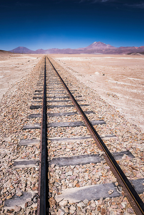 Old train tracks used by mining industry to carry goods through Bolivian Altiplano from Bolivia to Chile