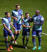 Adebayo Akinfenwa (right) of Wycombe Wanderers celebrates his goal with Scott Kashket (2nd right) of Wycombe Wanderers during the The Checkatrade Trophy match between Wycombe Wanderers and West Ham United U21 at Adams Park, High Wycombe, England on 4 October 2016. Photo by Andy Rowland.