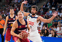 Real Madrid's player Sergio Llull and FC Barcelona Lassa's player Brad Oleson during the match of the semifinals of Supercopa of La Liga Endesa Madrid. September 23, Spain. 2016. (ALTERPHOTOS/BorjaB.Hojas)