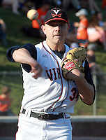 Virginia pitcher Artie Lewicki (34) throws to first base during the game against George Washington Wednesday at Davenport Stadium in Charlottesville, VA. Photo/The Daily Progress/Andrew Shurtleff