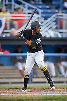 West Virginia Black Bears first baseman Julio De La Cruz (10) at bat during a game against the Batavia Muckdogs on June 26, 2017 at Dwyer Stadium in Batavia, New York.  Batavia defeated West Virginia 1-0 in ten innings.  (Mike Janes/Four Seam Images)