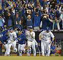 Royals team group,<br /> OCTOBER 5, 2014 - MLB :<br /> Johnny Giavotella, Norichika Aoki and Erik Kratz of the Kansas City Royals celebrate winning the American League Division Series (ALDS) Game 3 against the Los Angeles Angels at Kauffman Stadium in Kansas City, Missouri, United States. (Photo by AFLO)