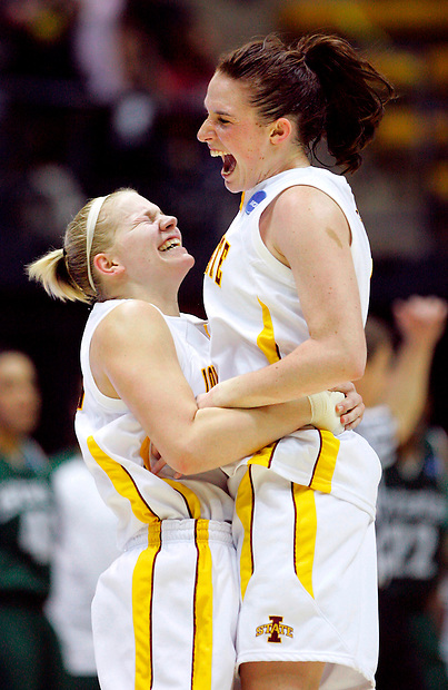 Iowa State's Heather Ezell, left, lifts Alison Lacey after Lacey hit the game winning three-pointer in their 69-68 win over Michigan State in NCAA regional semifinal game Saturday, March 28, 2009 in Berkeley, California.