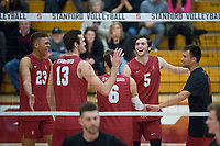 STANFORD, CA - December 30, 2017: Jaylen Jasper, Kevin Rakestraw, Russell Dervay, JP Reilly, Evan Enriques at Burnham Pavilion. The Stanford Cardinal defeated the Calgary Dinos 3-1.