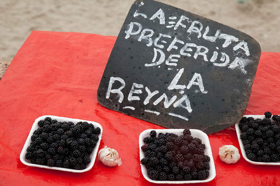 "Offering of blackberries for sale on the ""Day of Yemanja"", goddess of water, in Montevideo, Uruguay."
