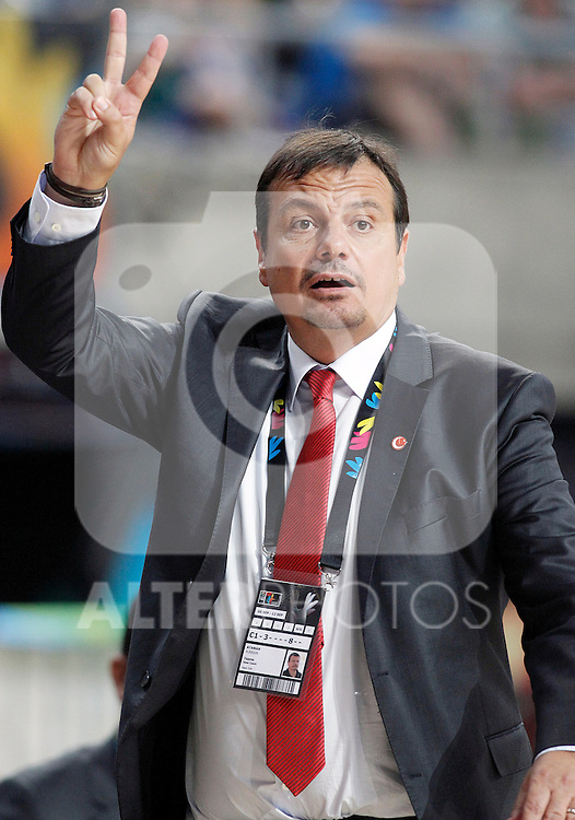 Turkey's coach Ergin Ataman during 2014 FIBA Basketball World Cup Quarter-Finals match.September 9,2014.(ALTERPHOTOS/Acero)