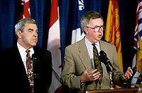 FILE PHOTO - Federal ministers Benoit Bouchard (L) and Joe Clark (R) attend a conference on Canada's constitution, May, 22, 1992.<br /> <br /> Photo : Pierre Roussel - Agence Quebec Presse