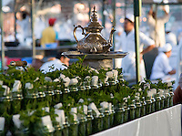 JUNE 3, 2008; MARRAKECH, MOROCCO; Mint tea is served in a food stall of the Jemaa el Fna in Marrakech, Morocco. Tourists and locals cram into the stalls for meals of grilled meats and Moroccan salads for as little as 30 dirhams or roughly $4. Photo by Matt May