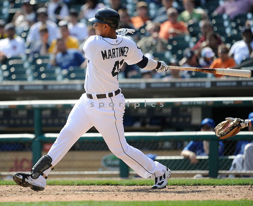 VICTOR MARTINEZ, of the Detroit Tigers, in action during the Tigers game against the Kansas City Royals on April 10, 2011 at Comerica Park in Detroit, Michigan.  The Royals beat the Tigers 9-0..