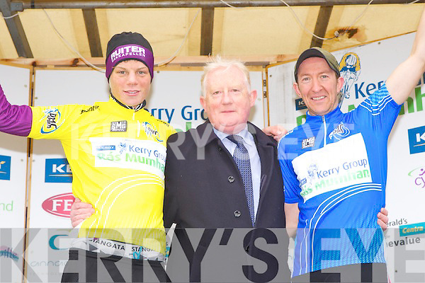 Frank Hayes from Kerry Group with the overall winner Denis Bakker and Matt Slattery Killarney the winner of the blue jersey after the finish of the RAS Munhan in Killorglin on Monday