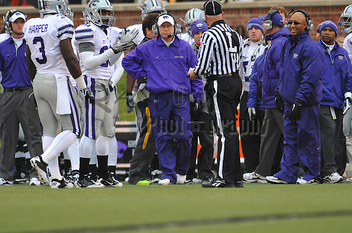 Nov 13, 2010; Columbia, MO, USA; Kansas State Wildcats head coach Bill Snyder watches the game from the sidelines during the first half of the game against the Missouri Tigers at Memorial Stadium. Mandatory Credit: Denny Medley-US PRESSWIRE