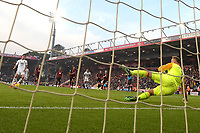 Raul Jimenez of Wolverhampton Wanderers wrong foots Artur Boruc of AFC Bournemouth to score from the penalty spot making the score 1-1 during AFC Bournemouth vs Wolverhampton Wanderers, Premier League Football at the Vitality Stadium on 23rd February 2019