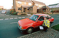 Traffic police officer performing speed enforcement checks using a handheld radar equiped speed measuring device. The officer points the unit at an on-coming vehicle and the speed is shown on the back of the gun. Here, he has stopped a car to talk to the driver and advise him about keeping to the speed limit...© SHOUT. THIS PICTURE MUST ONLY BE USED TO ILLUSTRATE THE EMERGENCY SERVICES IN A POSITIVE MANNER. CONTACT JOHN CALLAN. Exact date unknown.john@shoutpictures.com.www.shoutpictures.com...