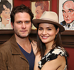 """Steven Pasquale with Phillipa Soo from the cast of """"The Parisian Woman"""" honored with a Sardi's Wall of Fame Portrait on February 28, 2018 at Sardi's in New York City."""