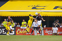 21 AUGUST 2010:  Jason Garey of the Columbus Crew (9) and Colorado Rapids midfielder Jeff Larentowicz (4) go up for a header during MLS soccer game between Colorado Rapids vs Columbus Crew at Crew Stadium in Columbus, Ohio on August 21, 2010.