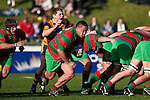 Rawwiri Garmonsway charges from the back of a scrum. Counties Manukau Premier Club Rugby final between Patumahoe & Waiuku played at Bayers Growers Stadium Pukekohe on Saturday August 8th 2009. Patumahoe won 11 - 9 after leading 11 - 6 at halftime.