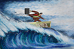 Illustrative image of businessman surfing on note representing conquering adversity