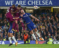 Gary Cahill of Chelsea is beaten in the air by a combination of Fernandinho and John Stones of Manchester City <br /> Calcio Chelsea - Manchester City Premier League <br /> Foto Phcimages/Panoramic/insidefoto