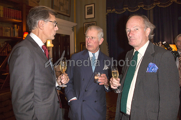 26 October 2016 - London, England - Prince Charles Prince of Wales, David Campbell and Guy de Rivoire. A Royal reception at Spencer House to celebrate the 25th anniversary of the revival of the Everymans Library, a specialist hardback publishing house London. Photo Credit: Alpha Press/AdMedia