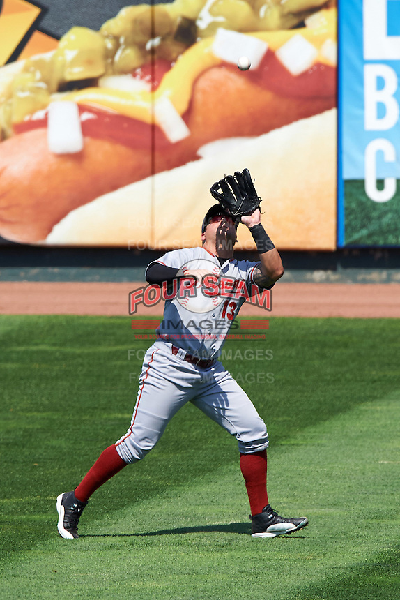 Altoona Curve right fielder Stetson Allie (13) catches a fly ball during a game against the Erie SeaWolves on July 10, 2016 at Jerry Uht Park in Erie, Pennsylvania.  Altoona defeated Erie 7-3.  (Mike Janes/Four Seam Images)