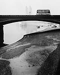 Bus on Battersea Bridge, 1940s